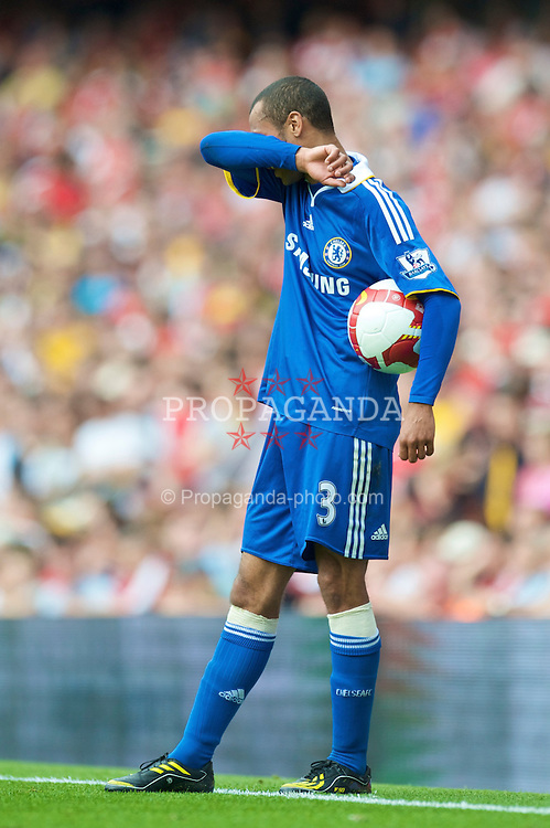 LONDON, ENGLAND - Sunday, May 10, 2009: Chelsea's Ashley Cole prepares to take a throw-in during the Premiership match against Arsenal at the Emirates Stadium. (Photo by David Rawcliffe/Propaganda)