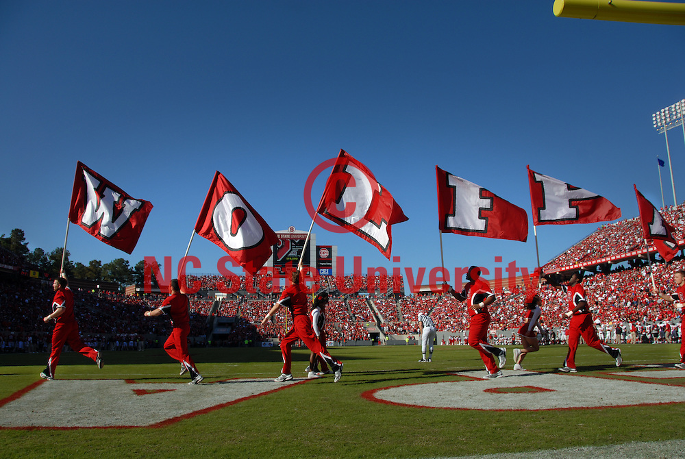 Cheerleaders celebrate a touchdown against Maryland. PHOTO BY ROGER WINSTEAD