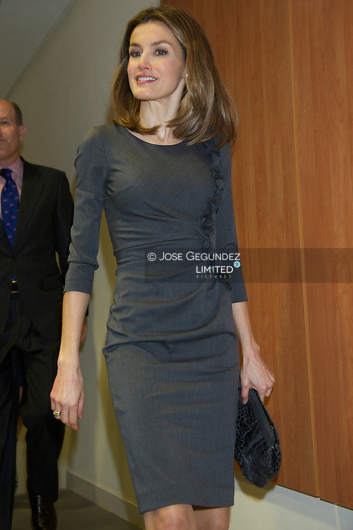 """Princess Letizia attends the Presentation of the corporate campaign """"Being more, we will be stronger"""" and signs with media groups of the agreement """"Commitment to Cancer. States against the disease"""" at AECC headquarters in Madrid"""
