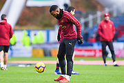 Alexandre Lacazette of Arsenal (9) warming up during the Premier League match between Huddersfield Town and Arsenal at the John Smiths Stadium, Huddersfield, England on 9 February 2019.