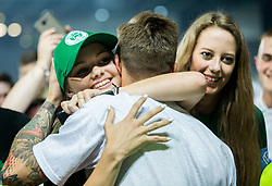 Aljaz Ivacic of NK Olimpija with Supporters of Olimpija after winning during football match between NK Aluminij and NK Olimpija Ljubljana in the Final of Slovenian Football Cup 2017/18, on May 30, 2018 in SRC Stozice, Ljubljana, Slovenia. Photo by Vid Ponikvar / Sportida