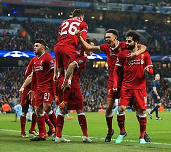 Mohamed Salah of Liverpool celebrates after scoring the equalising goal to make it 1-1 - Mandatory by-line: Matt McNulty/JMP - 10/04/2018 - FOOTBALL - Etihad Stadium - Manchester, England - Manchester City v Liverpool - UEFA Champions League Quarter Final Second Leg