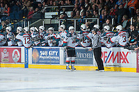 KELOWNA, CANADA - JANUARY 16: Colton Sissons #15 of the Kelowna Rockets celebrates a goal against the  Spokane Chiefs at the Kelowna Rockets on January 16, 2013 at Prospera Place in Kelowna, British Columbia, Canada (Photo by Marissa Baecker/Shoot the Breeze) *** Local Caption ***