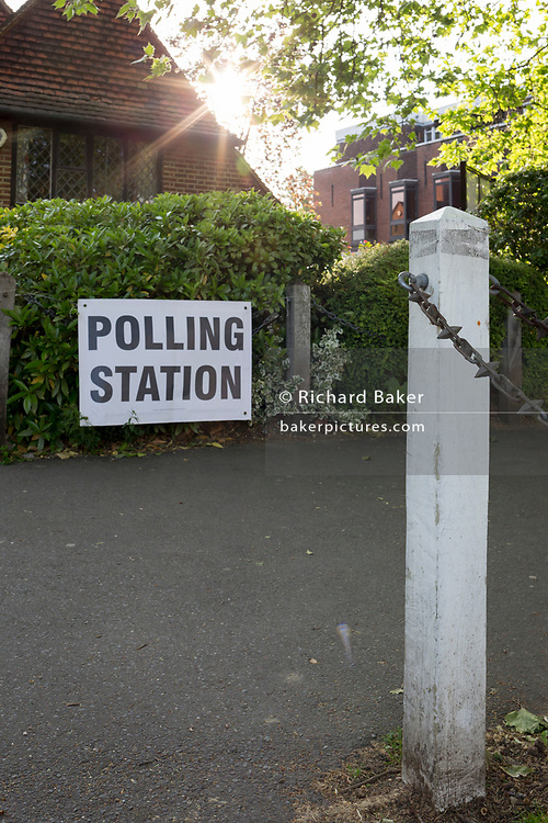 Before voting for the European Elections commences at 7am, a Polling Station sign at the entrance of St. Barnabas Parish Hall in Dulwich Village, on 23rd May 2019, in south London, England UK.