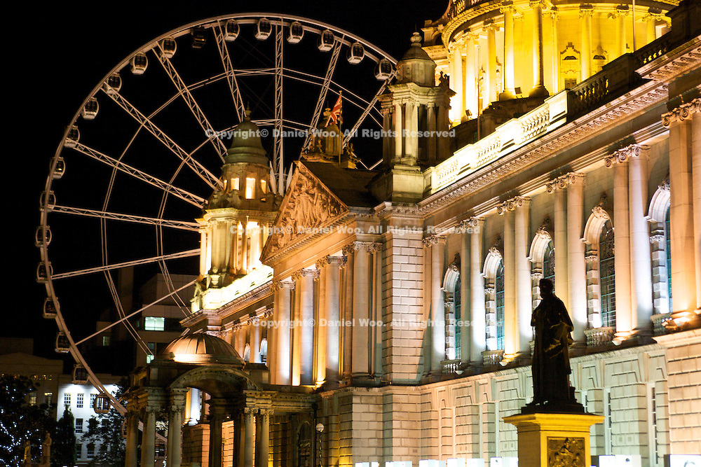 City Hall, Belfast at Night with Ferris Wheel in background