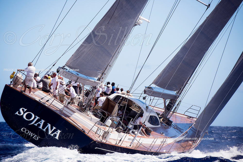 Sojana sailing in the Antigua Superyacht Challenge, day two.