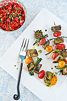 Beef Brochettes with Tomato Salsa <br />