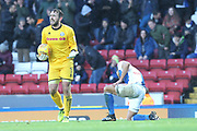 PENALTY Josh Lillis complains after fouling Elliott Bennett during the EFL Sky Bet League 1 match between Blackburn Rovers and Rochdale at Ewood Park, Blackburn, England on 26 December 2017. Photo by Daniel Youngs.