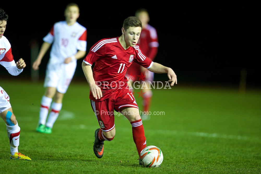 CONNAH'S QUAY, WALES - Thursday, March 20, 2014: Wales' Kieran Evans in action against Poland during the Under-15's International Friendly match at the Deeside Stadium. (Pic by David Rawcliffe/Propaganda)