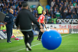 CARDIFF, WALES - Tuesday, May 17, 2011: The assistant referee looks on at large inflatable ball sits on the pitch during the Football League Championship Play-Off Semi-Final 2nd Leg match between Cardiff City and Reading at the Cardiff City Stadium. (Photo by David Rawcliffe/Propaganda)