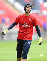 Petr Cech of Arsenal warms up before the match - Mandatory byline: Paul Terry/JMP - 07966386802 - 02/08/2015 - Football - Wembley Stadium -London,England - Arsenal v Chelsea - FA Community Shield