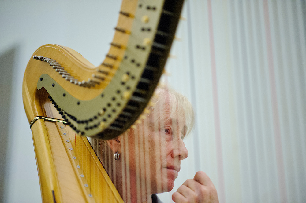(photo by Matt Roth).Assignment ID: 30127886A..Harp student Dr. Joan Fitzpatrick, from Denver rehearses the hair chamber piece with Baltimore Symphony Orchestra harpist Sarah Fuller during the third annual BSO Academy at the Baltimore School for the Arts Sunday, June 24, 2012. Dr. Fitzpatrick studies ice and snow.
