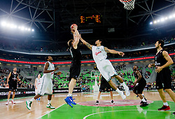 Luca Lechthaler of Montepaschi Siena vs Danny Green of Union Olimpija during basketball match between KK Union Olimpija and Montepaschi Siena (ITA) of 7th Round in Group D of Regular season of Euroleague 2011/2012 on December 1, 2011, in Arena Stozice, Ljubljana, Slovenia. Sena defeated Union Olimpija 63-57. (Photo by Vid Ponikvar / Sportida)