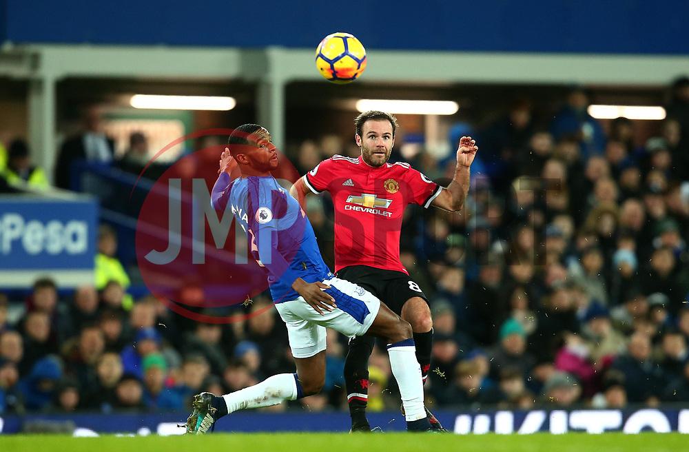 Juan Mata of Manchester United takes on Cuco Martina of Everton - Mandatory by-line: Robbie Stephenson/JMP - 01/01/2018 - FOOTBALL - Goodison Park - Liverpool, England - Everton v Manchester United - Premier League