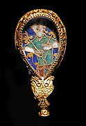 The Alfred Jewel. Enamel set in gold. It carries an inscription which says ' Alfred ordered me to be made'. Anglo-Saxon, 871-899