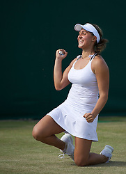 LONDON, ENGLAND - Saturday, June 25, 2011: Tamira Paszek (AUT) celebrates after winning the Ladies' Singles 3rd Round match in the 39th game 3-6, 6-4, 11-9 on day six of the Wimbledon Lawn Tennis Championships at the All England Lawn Tennis and Croquet Club. (Pic by David Rawcliffe/Propaganda)