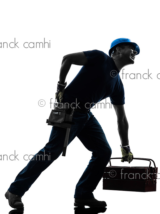 one manual worker man backache pain in silhouette on white background