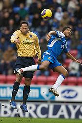Wigan, England - Sunday, January 21, 2007: Wigan Athletic's Antonio Valencia and Everton's Jason Lescott during the Premier League match at the JJB Stadium. (Pic by David Rawcliffe/Propaganda)