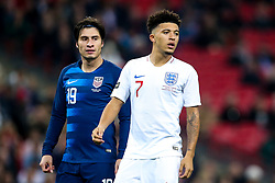 Jadon Sancho of England is marked by Kenny Saief of USA - Mandatory by-line: Robbie Stephenson/JMP - 15/11/2018 - FOOTBALL - Wembley Stadium - London, England - England v United States of America - International Friendly