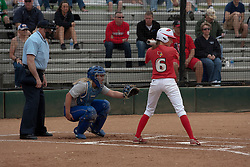 15 April 2012:  Lauren Kellar gets comfortable in the batters box during an NCAA women's softball game between the Drake Bulldogs and the Illinois State Redbirds on Marian Kneer Field in Normal IL