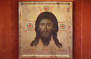 Icon depicting the holy face of Jesus Christ, late 12th or early 13th century, from Serbia, painted on cypress wood and plaster, donated by Pope Urban IV who was born in Laon in 1185, in Laon Cathedral or the Cathedrale Notre-Dame de Laon, built 12th and 13th centuries in Gothic style, in Laon, Aisne, Picardy, France. The cathedral is listed as a historic monument. Picture by Manuel Cohen