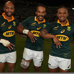 Lionel Mapoe with Courtnall Skosan and Elton Jantjies of South Africa during the 2nd Castle Lager Incoming Series Test match between South Africa and France at Growthpoint Kings Park on June 17, 2017 in Durban, South Africa. (Photo by Steve Haag Sports)