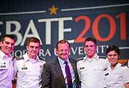 "Oct. 11, 2012 - Hempstead, New York, U.S. - At center in suit, ROBERT GIBBS, former White House Press Secretary and a longtime Advisor to Pres. Obama, is with West Point cadets after a Point/Counterpoint discussion at Hofstra University Debate 2012 event. This was part of ""Debate 2012 Pride Politics and Policy"" a series of events leading up to when Hofstra hosts the 2nd Presidential Debate between Obama and M. Romney, on October 16, 2012, in a Town Meeting format."