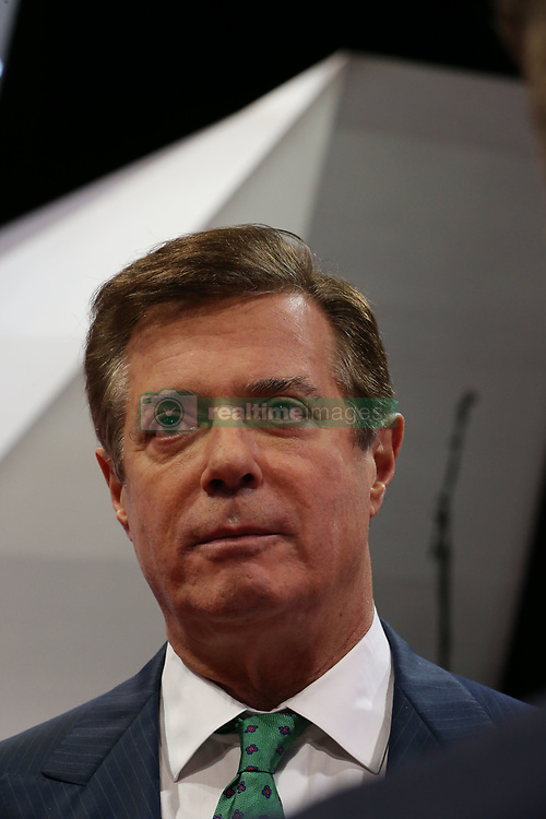 Aug. 9, 2017 - (File Photo) - FBI agents seized documents and other materials from the suburban Virginia home of Paul Manafort, former Trump campaign chairman. PICTURED: July 17, 2016 - Cleveland, Ohio, U.S - Donald Trump's campaign manager PAUL MANAFORT talks with reporters on the floor of the Quicken Arena today before the start of the Republcan Convention tomorrow. (Credit Image: © Mark Reinstein via ZUMA Wire)