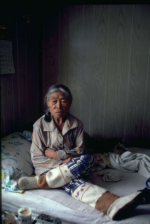 Images from assignment work in Igloolik, Eastern Canadian Artic, in 1985-1986.  Igloolik is an Inuit community with traditional hunting and fishing and a strong sense of self government. Rosie Ukkumaluk an inuit storyteller and traditional elder.