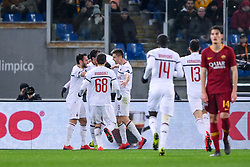 February 3, 2019 - Rome, Rome, Italy - Krzysztof Piatek of Milan celebrates scoring first goal during the Serie A match between Roma and AC Milan at Stadio Olimpico, Rome, Italy on 3 February 2019. (Credit Image: © Giuseppe Maffia/NurPhoto via ZUMA Press)
