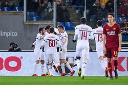 February 3, 2019 - Rome, Rome, Italy - Krzysztof Piatek of Milan celebrates scoring first goal during the Serie A match between Roma and AC Milan at Stadio Olimpico, Rome, Italy on 3 February 2019. (Credit Image: © Giuseppe Maffia/NurPhoto via ZUMA Press)
