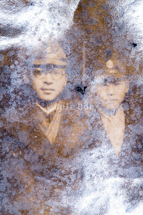 two soldiers portrait looking at camera Japan ca 1940s