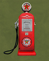 An isolated  Texaco gas station pump. The level of detail in this piece is simply astonishing, particularly in terms of the Shell Gasoline pump.<br />
