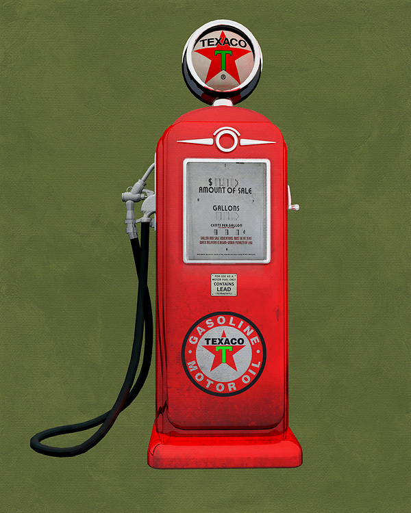 An isolated  Texaco gas station pump. The level of detail in this piece is simply astonishing, particularly in terms of the Shell Gasoline pump.<br /> This is an excellent piece for anyone who appreciates unique pop art. The piece can be installed virtually anywhere you please <br /> -<br /> BUY THIS PRINT AT<br /> <br /> FINE ART AMERICA<br /> ENGLISH<br /> https://janke.pixels.com/featured/texaco-gas-jan-keteleer.html