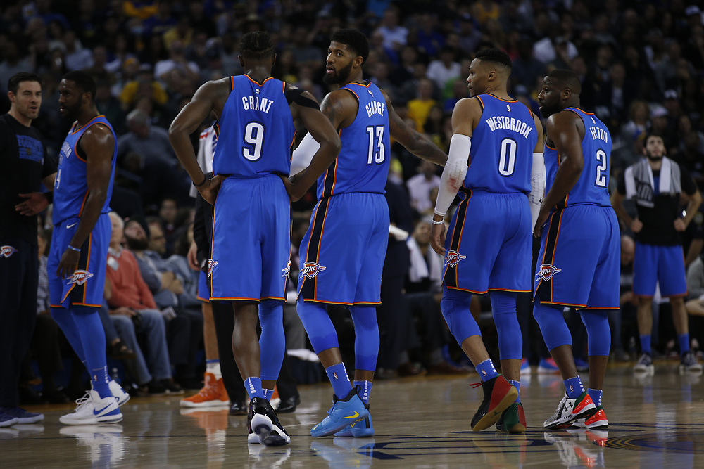 Oklahoma City Thunder during the first half of an NBA game between the Warriors and Oklahoma City Thunder at Oracle Arena, Tuesday, Feb. 6, 2018, in Oakland, Calif.