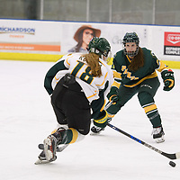 1st year forward Jordan Kulbida (18) of the Regina Cougars in action during the Women's Hockey home game on January 20 at Co-operators arena. Credit: Arthur Ward/Arthur Images