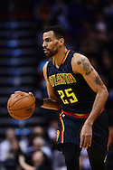 Jan 23, 2016; Phoenix, AZ, USA; Atlanta Hawks forward Thabo Sefolosha (25) dribbles the ball up the court against the Phoenix Suns in the second half at Talking Stick Resort Arena. The Suns won 98-95. Mandatory Credit: Jennifer Stewart-USA TODAY Sports