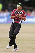 Alfonso Thomas takes a catch to dismiss Nick Compton during the NatWest T20 Blast South Group match between Middlesex County Cricket Club and Somerset County Cricket Club at Uxbridge Cricket Ground, Uxbridge, United Kingdom on 26 June 2015. Photo by David Vokes.