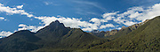 Panoramic of the Earl Mountains in Fiordland National Park, New Zealand