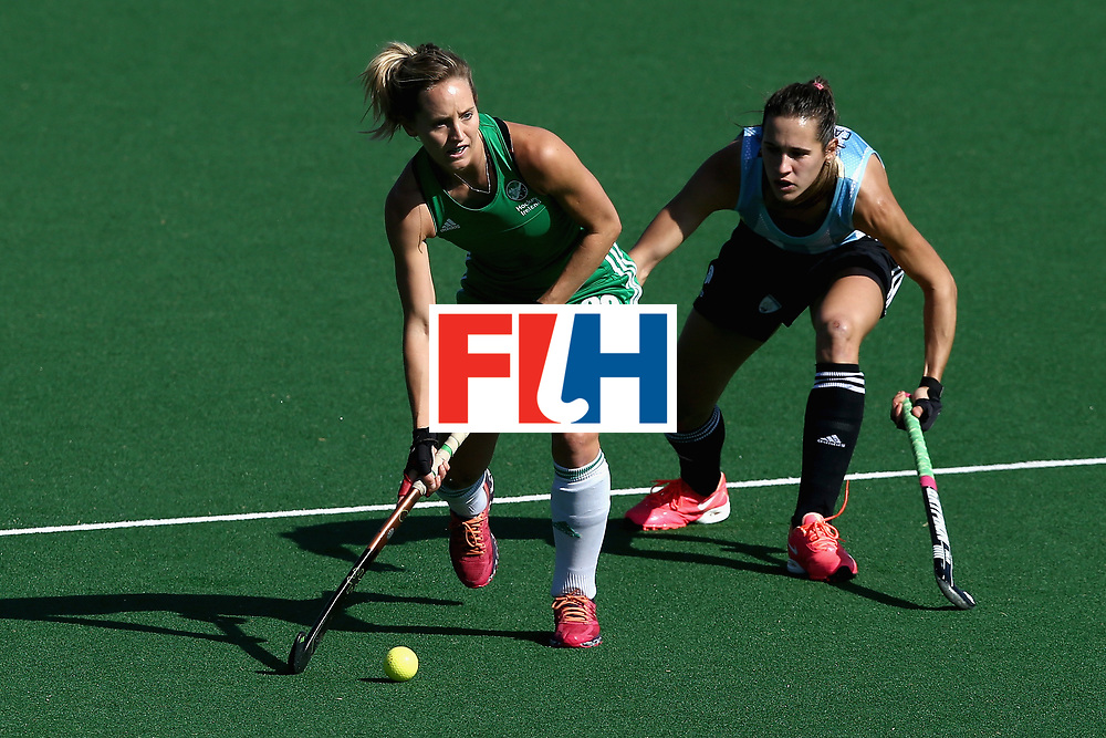 JOHANNESBURG, SOUTH AFRICA - JULY 18: Nicola Daly of Ireland is put under pressure from Martina Cavallero of Argentina during the Quarter Final match between Argentina and Ireland during the FIH Hockey World League - Women's Semi Finals on July 18, 2017 in Johannesburg, South Africa.  (Photo by Jan Kruger/Getty Images for FIH)
