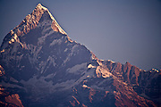 Machapuchare (6,993 meters), also known as the Fish Tail Mountain, at sunrise as seen from Pokhara in Western Nepal.