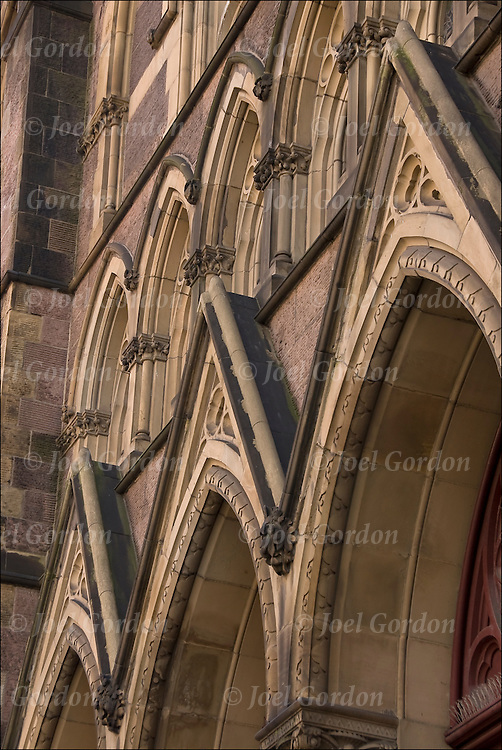 Close up of architectural buttress detail on front of 'Our Lady of Guadalupe ' church on 328 W14th Street NYC