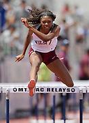 Rachel Glenn of Long Beach Wilson places third in the girls 100m hurdles in 14.32 during the 2019 CIF Southern Section Masters Meet in Torrance, Calif., Saturday, May 18, 2019.