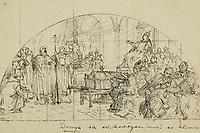 """[Skica za zidnu sliku """"Ćiril i Metod brane pred papom Hadrijanom staroslavensku liturgiju, a on ju odobrava""""] / [Oton] Iveković. <br /> <br /> Impresum[između 1897. i 1900].<br /> Materijalni opis1 crtež : tuš, olovka, pero ; 138 x 249 mm.<br /> AutorIveković, Oton(17. 4. 1869.–4. 7. 1939.)<br /> Vrstavizualna građa • crteži<br /> ZbirkaGrafička zbirka NSK • Zbirka crteža 19. stoljeća<br /> Formatimage/jpeg<br /> SignaturaGZAH 699 ive 144<br /> Obuhvat(vremenski)19. stoljeće<br /> NapomenaLijevo dolje tušem: Iveković, sredina dolje ispod prikaza tušem: Druga sa sv. Kovčegom (moći sv. Klimenta.), lijevo gore u koso olovkom: 138 x 250 • Zidnu sliku Iveković je realizirao u isusovačkoj crkvi sv. Ćirila i Metoda u Sarajevu. Unutrašnja dekoracija crkve izvedena je između 1897. i 1900. godine (uz Ivekovića angažirana je i slovenska slikarica Ivana Kobilca). • Prikaz tematizira dolazak Ćirila i Metoda s relikvijom sv. Klimenta u Rim gdje ih prima papa Hadrijan II. • Literatura: Retrospektivna izložba Oton Iveković, Umjetnički paviljon u Zagrebu, urednik Lea Ukrainčik. Zagreb : Umjetnički paviljon, 1996. • Literatura: Mladenović, Ljubica. Građansko slikarstvo u Bosni i Hercegovini u XIX veku / Sarajevo : """"Veselin Masleša"""", 1982.<br /> PravaJavno dobro<br /> Identifikatori000058781<br /> NBN.HRNBN: urn:nbn:hr:238:753810 <br /> <br /> Izvor: Digitalne zbirke Nacionalne i sveučilišne knjižnice u Zagrebu"""
