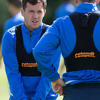 St Johnstone Training…29.07.16<br />Danny Swanson and Tam Scobbie having fun during training this morning at McDiarmid Park<br />Picture by Graeme Hart.<br />Copyright Perthshire Picture Agency<br />Tel: 01738 623350  Mobile: 07990 594431
