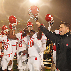 Oct 23, 2009; West Point, N.Y., USA; Rutgers head coach Greg Schiano and his team celebrate their 27 - 10 victory over Army at Michie Stadium.