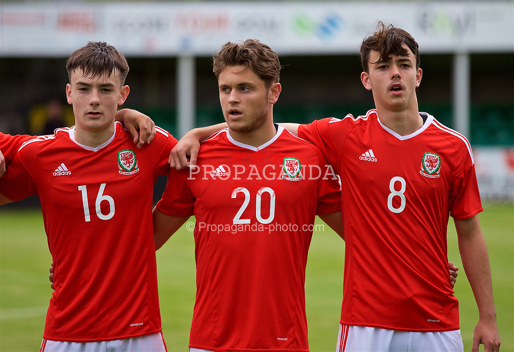 RHYL, WALES - Monday, September 4, 2017: Wales players line-up before an Under-19 international friendly match between Wales and Iceland at Belle Vue. Dylan Levitt, Keiran Evans, Robbie Burton. (Pic by Paul Greenwood/Propaganda)