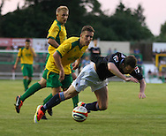 Picture by David Horn/Focus Images Ltd +44 7545 970036<br /> 16/07/2013<br /> Shaun Whalley of Luton Town is tripped in the box and awarded a penalty during the Pre Season Friendly match at Top Field, Hitchin.