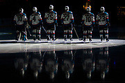 KELOWNA, CANADA - APRIL 26:  Starting Lineup at the Kelowna Rockets game on April 26, 2017 at Prospera Place in Kelowna, British Columbia, Canada.  (Photo By Cindy Rogers/Nyasa Photography,  *** Local Caption ***  Michael Herringer #30 of the Kelowna Rockets, Gordie Ballhorn #4 of the Kelowna Rockets, Cal Foote #25 of the Kelowna Rockets, Calvin Thurkauf #27 of the Kelowna Rockets, Nick Merkley #10 of the Kelowna Rockets, Reid Gardiner #23 of the Kelowna Rockets