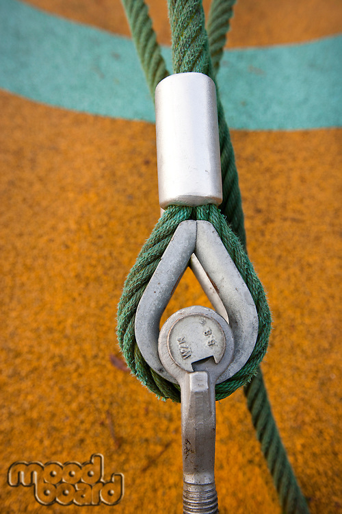 Eye bolt secures cable to the ground
